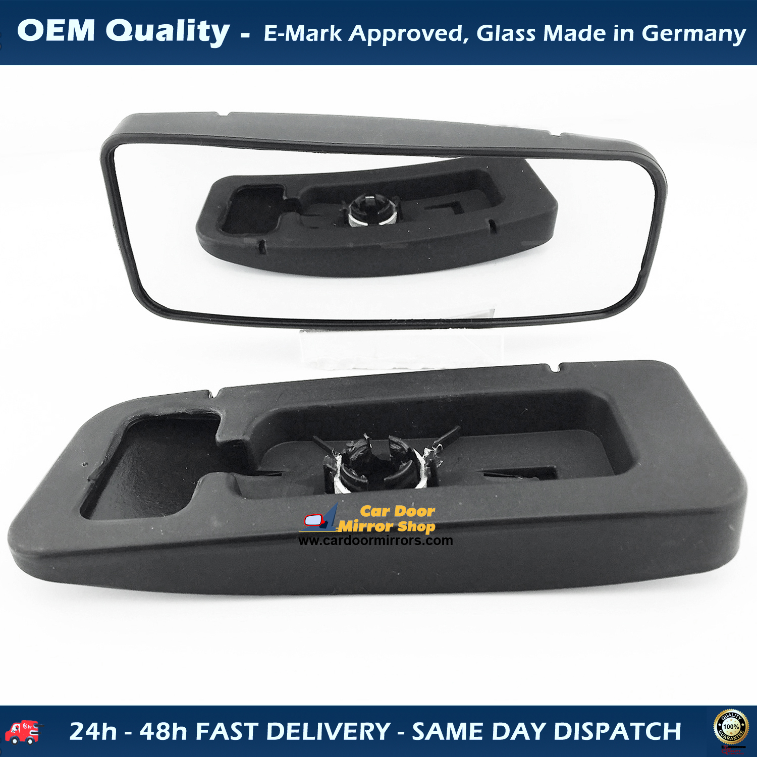New Wing Mirror Glass /& Base Silver RHS For Mercedes Sprinter 2006