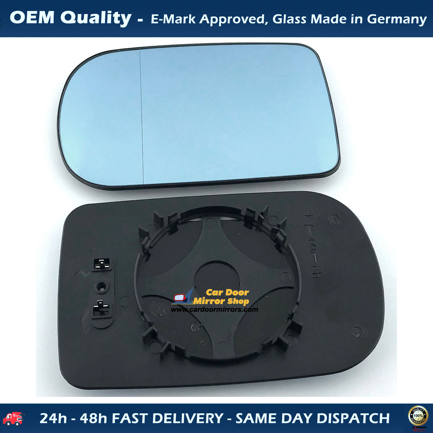 1x Mirror Glass Right=Left for Renault Megan from 1995-2003 Convex Unheated