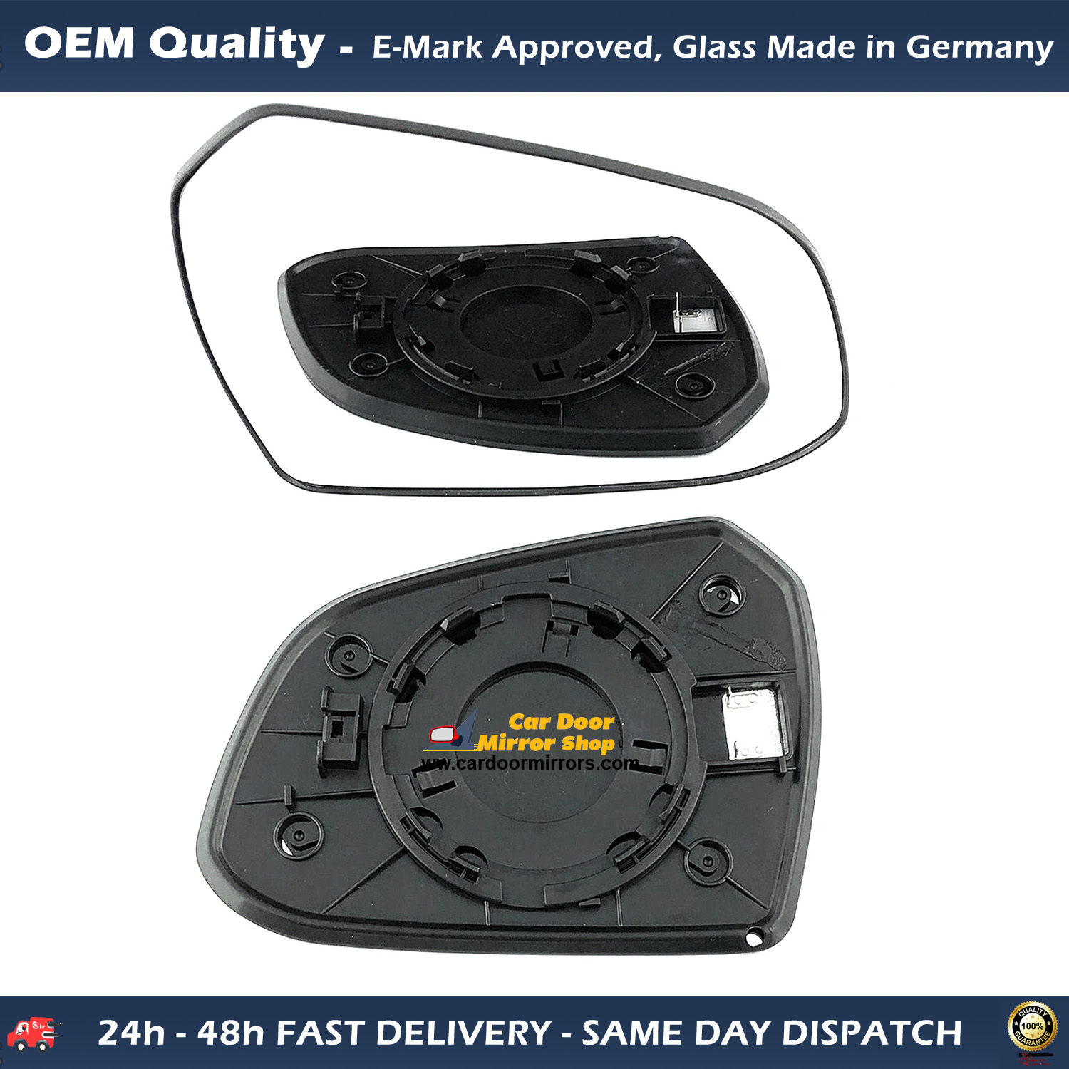 For Hyundai i10 2013-On Right Driver side Electric wing mirror glass with plate